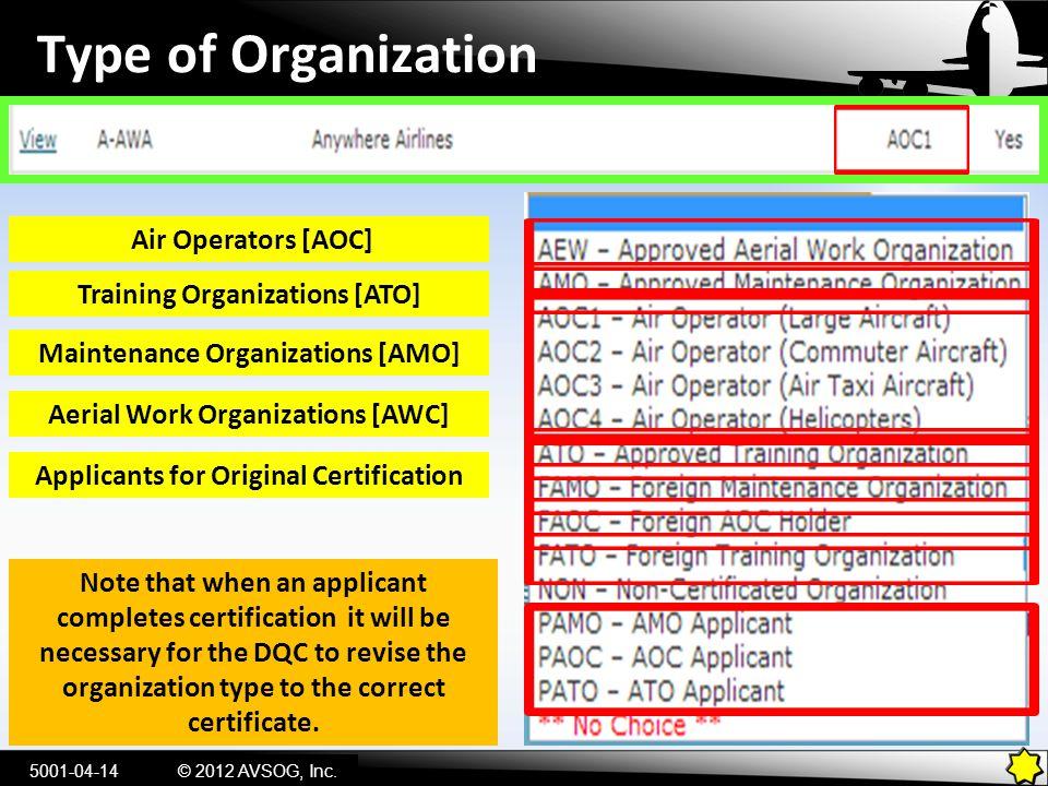 Type of Organization Air Operators [AOC] Training Organizations [ATO]